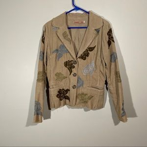 Johnny Was Corduroy Floral Embroidered Jacket